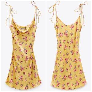 NEW Zara Draped Floral Print Mini Slip Silky Dress